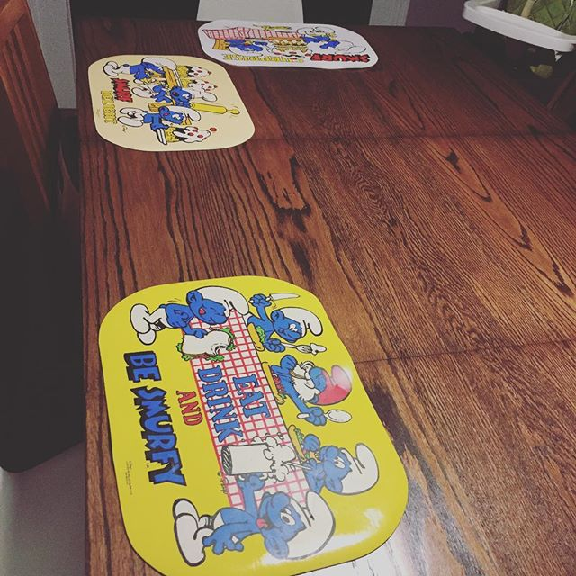Instagram: Ate our first dinner on our grown-up table... with vintage smurf placemats. #needgrownuplinens #eventually