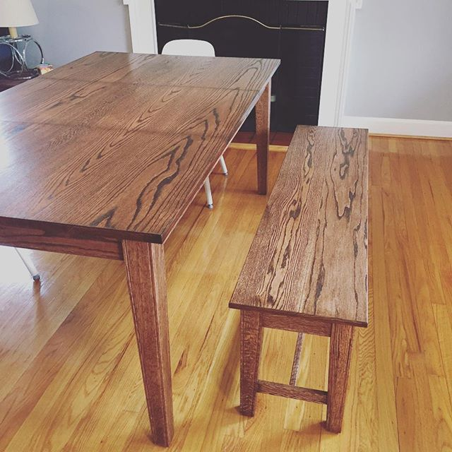 Instagram: Dining Room table and bench.