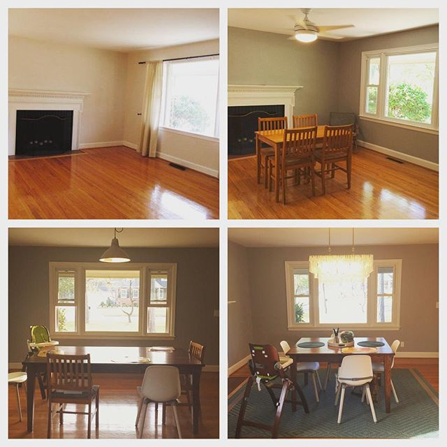 Instagram: Taken from different perspectives, but the evolution of the dining room over almost two years. #needsomethingonthewalls